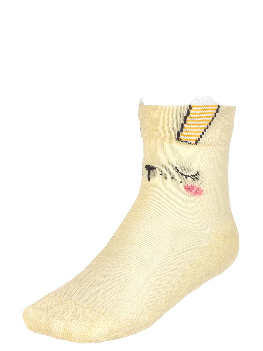 Носки для девочки плюшевый след с элементами 3d рисунка, цвет: желтый