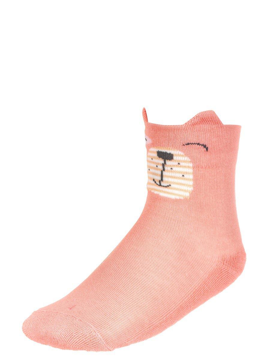 Носки для девочки плюшевый след с элементами 3d рисунка, цвет: персиковый