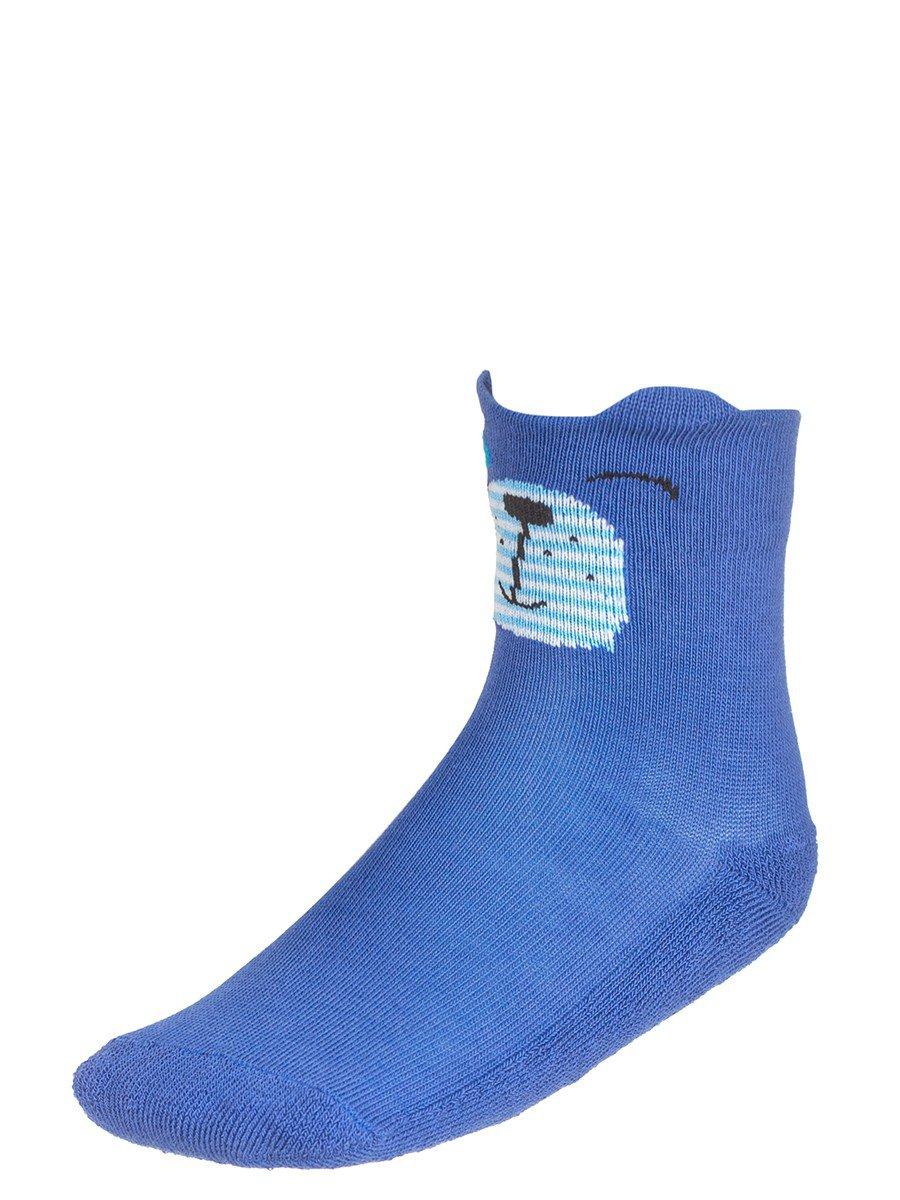 Носки для девочки плюшевый след с элементами 3d рисунка, цвет: васильковый