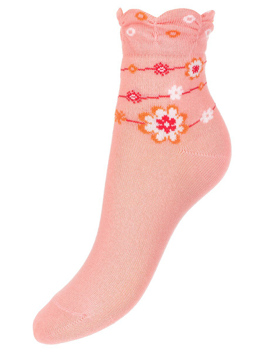 Носки для девочки с мелким рисунком, цвет: персиковый