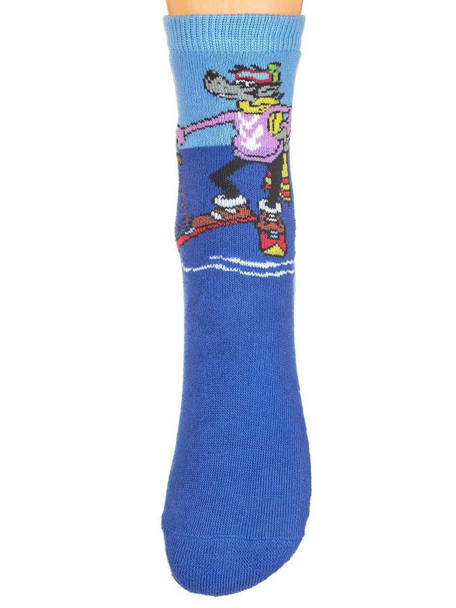 Зимние плюшевые носки из коллекции «Ну, погоди!», цвет: васильковый