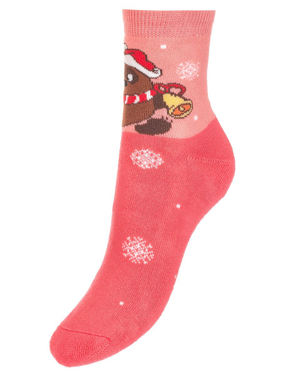 Зимние плюшевые носки с персонажами из мультфильма «Винни-пух», цвет: коралловый