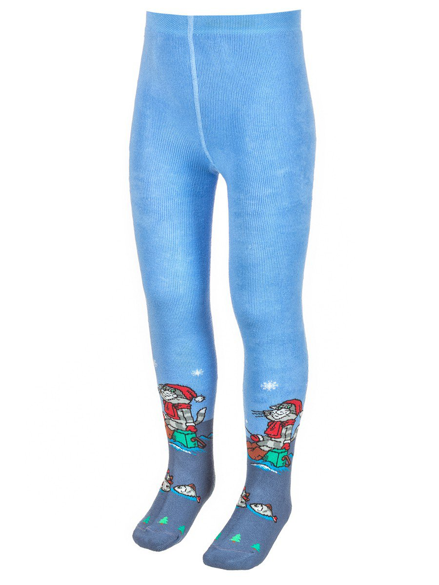 """Детские зимние плюшевые колготки  """"Трое из Простоквашено"""", цвет: голубой"""