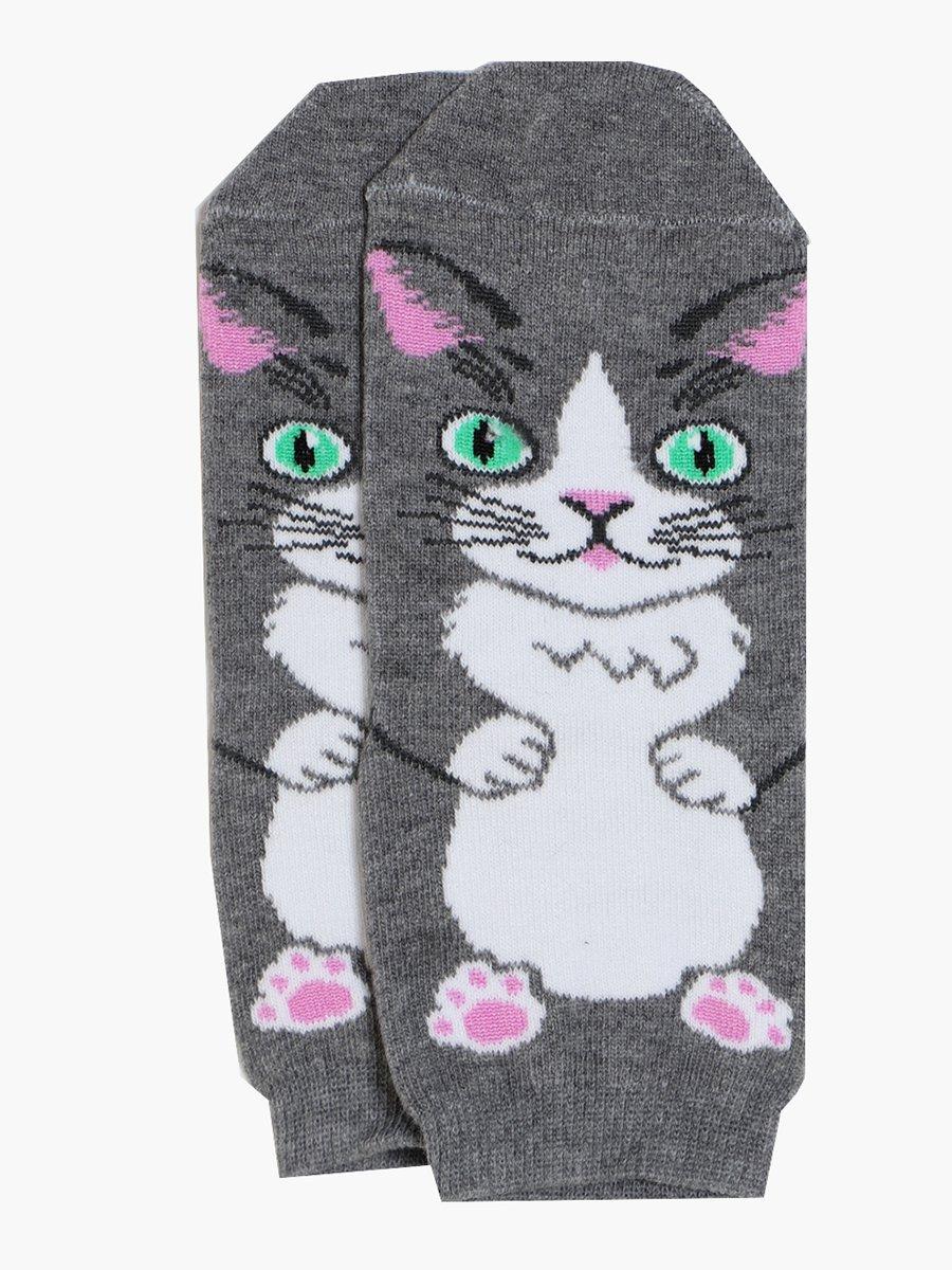 Демисезонные носки с забавными животными на верхней части носка, цвет: серый меланж