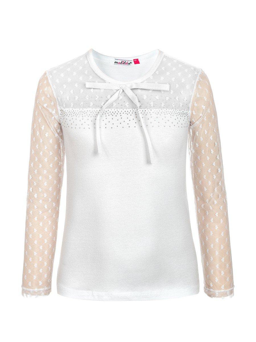 Блузка для девочки отделка гипюр и стразы, цвет: белый
