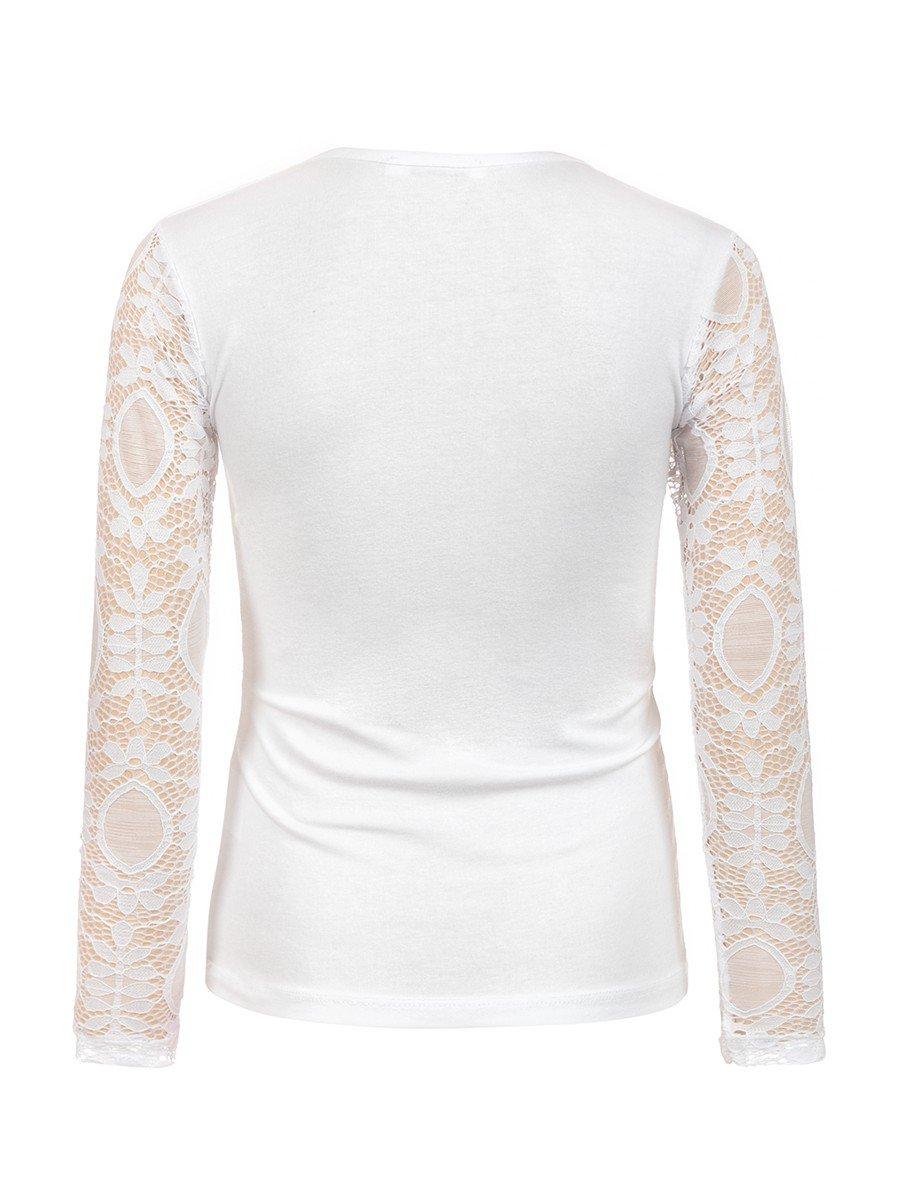 Блузка гипюровая для девочки, цвет: белый