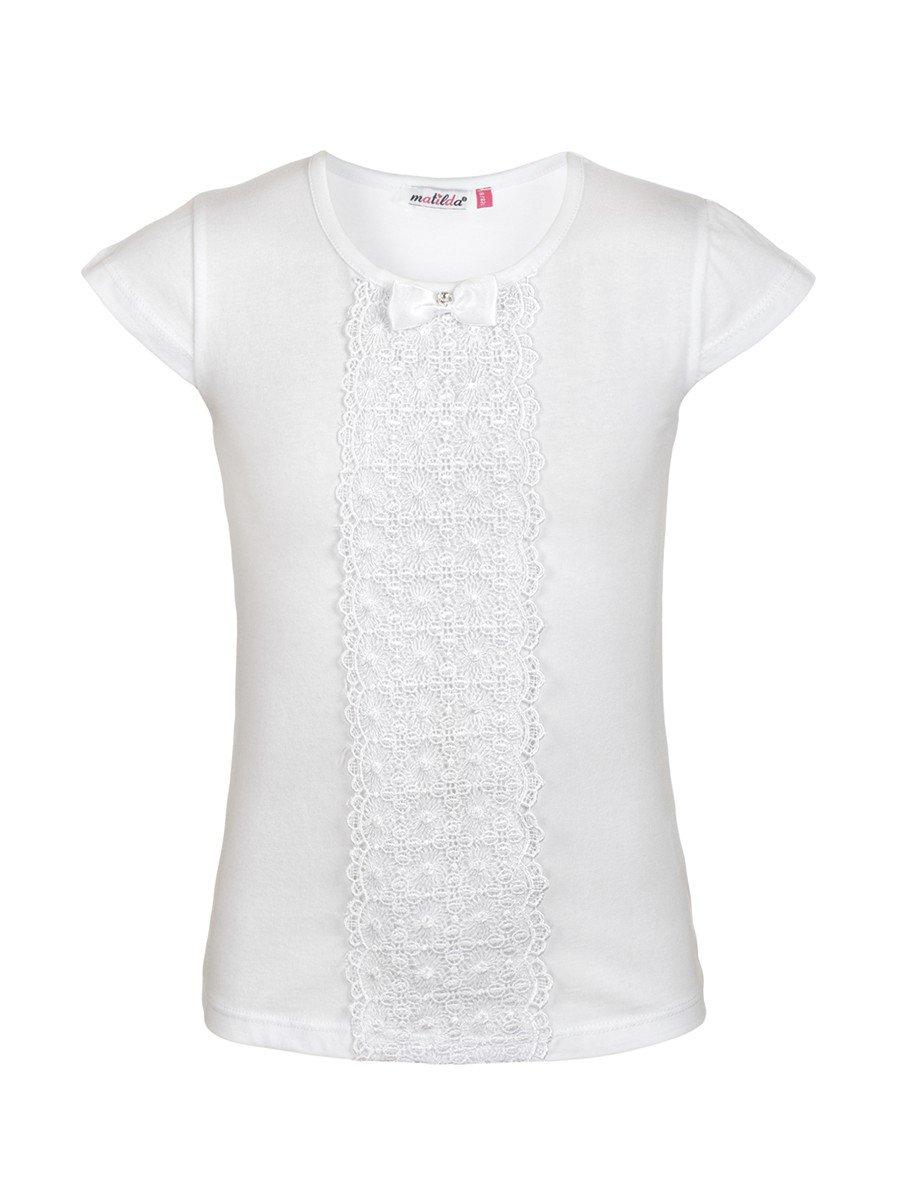 Блузка для девочки отделка-гипюр, цвет: белый