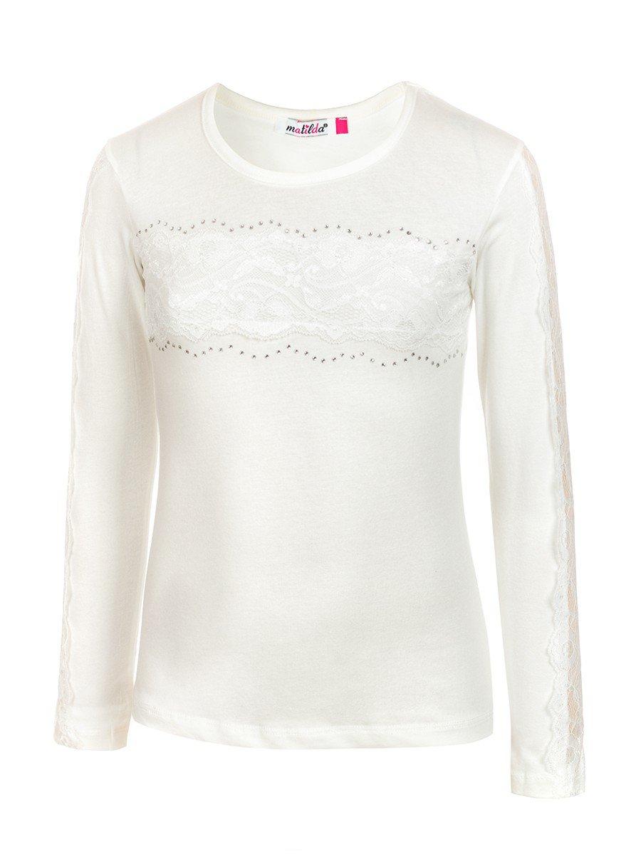 Блузка для девочки отделка-гипюр, цвет: молочный