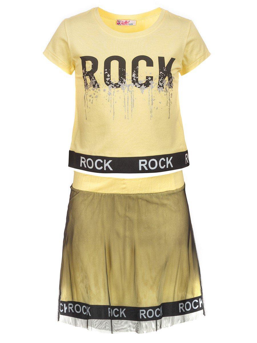 Комплект для девочки: футболка и юбка с сеткой, цвет: желтый