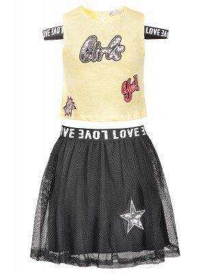 Комплект для девочки: топ и юбка из сетки на подкладке, отделка пайетки