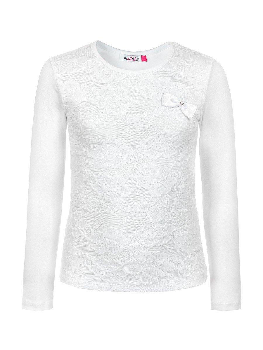 Блузка для девочки, отделка-гипюр, цвет: белый