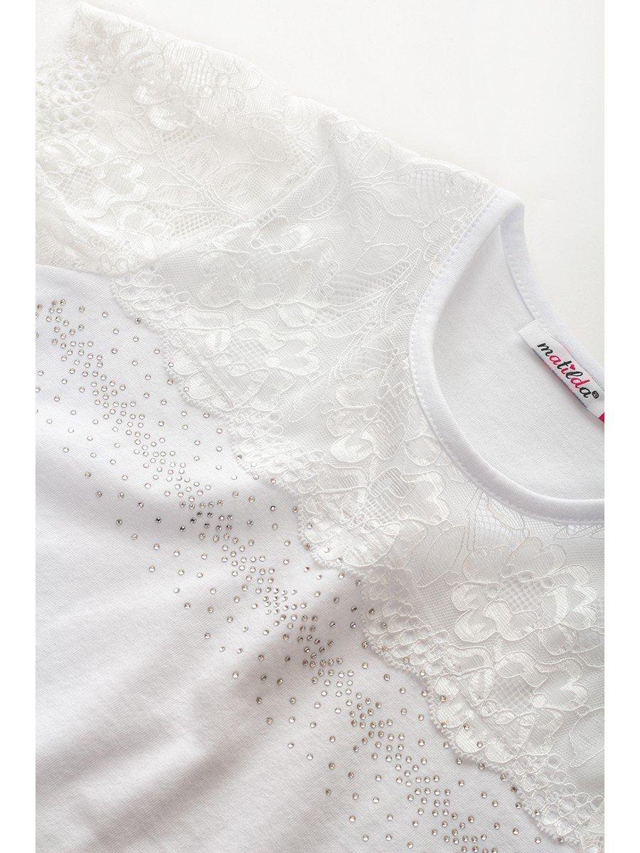 Блузка для девочки, отделка-гипюр