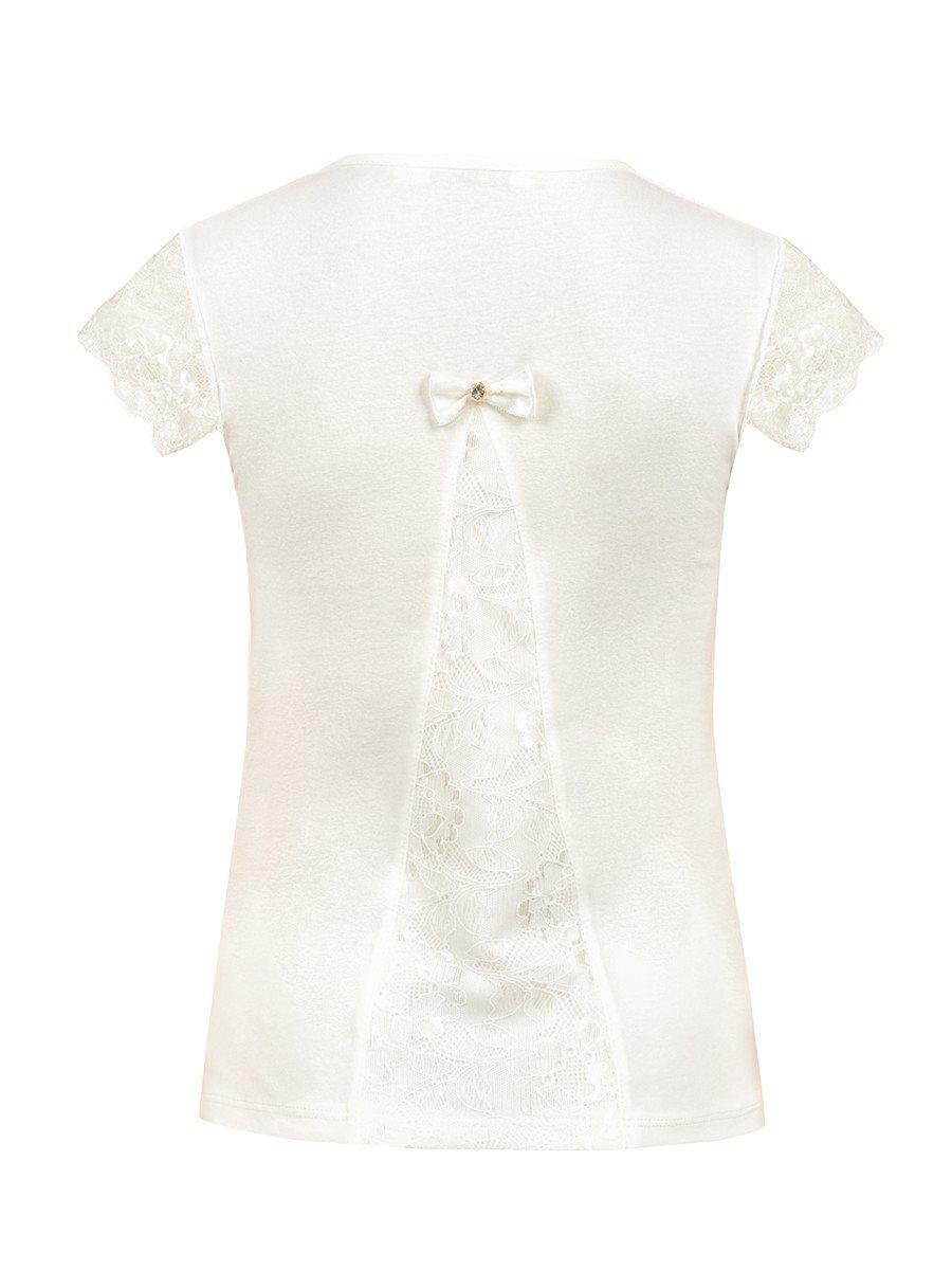 Блузка для девочки, отделка-гипюр и стразы