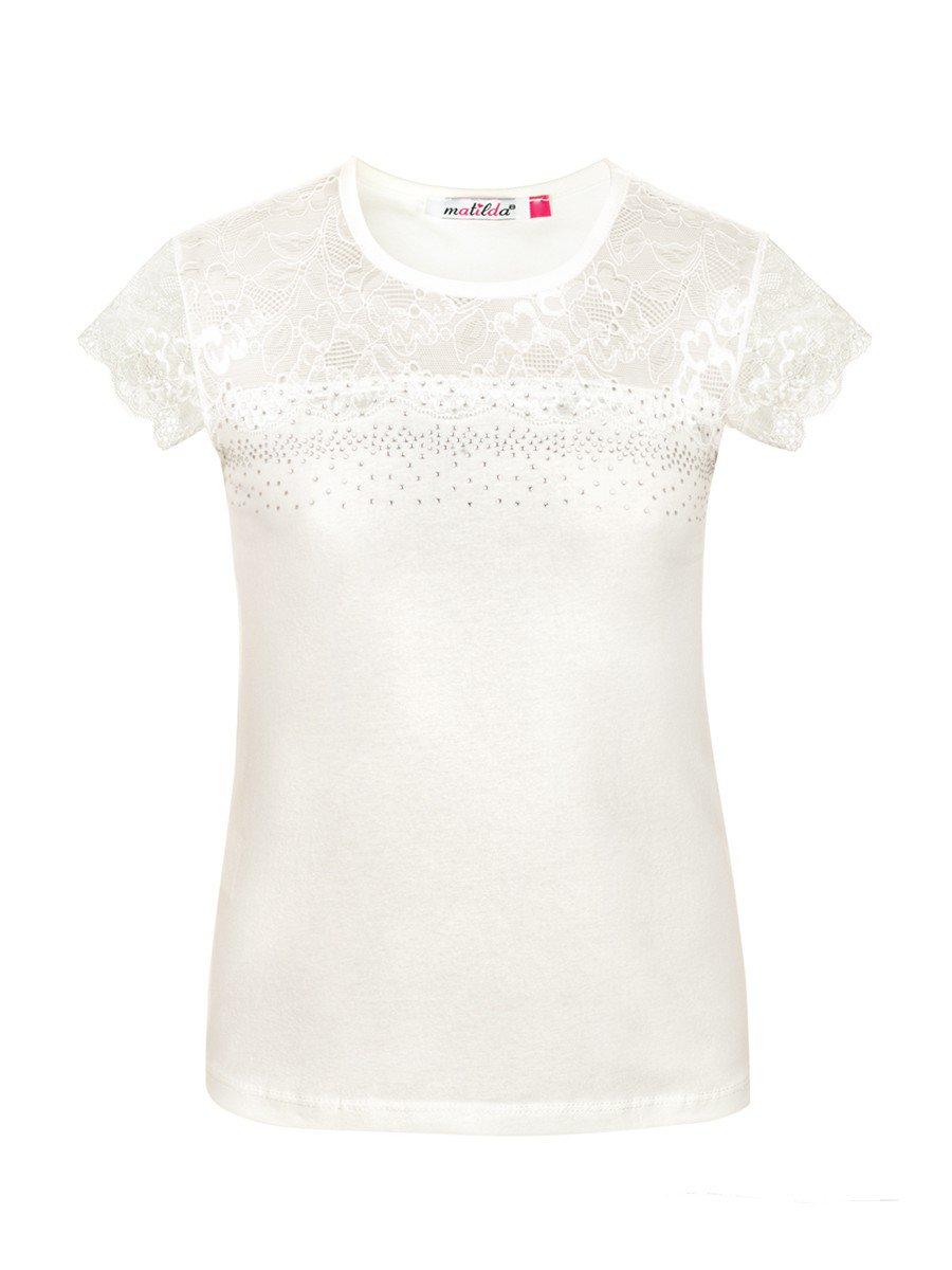 Блузка для девочки, отделка-гипюр и стразы, цвет: молочный