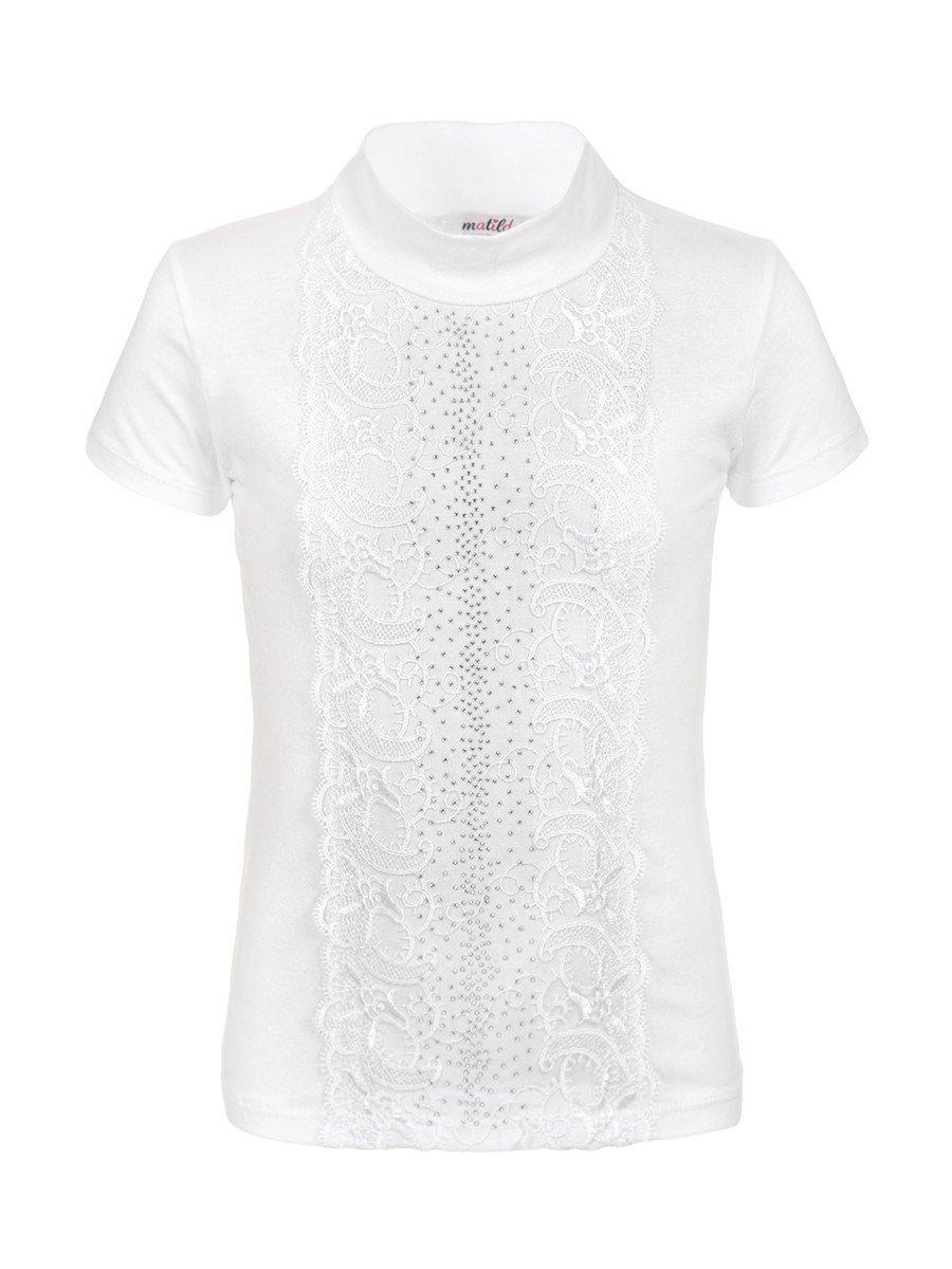 Блузка для девочки, отделка-гипюр и стразы, цвет: белый
