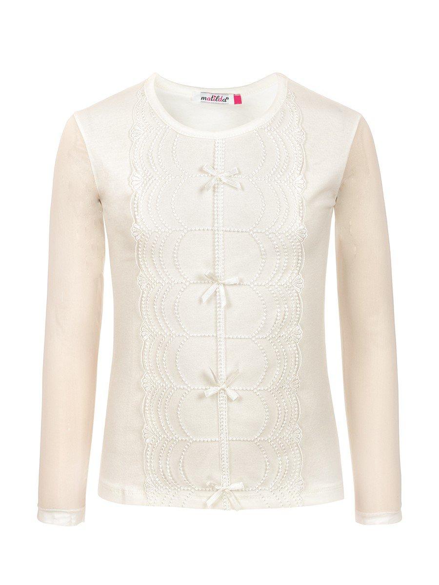 Блузка для девочки, отделка-гипюр, цвет: молочный