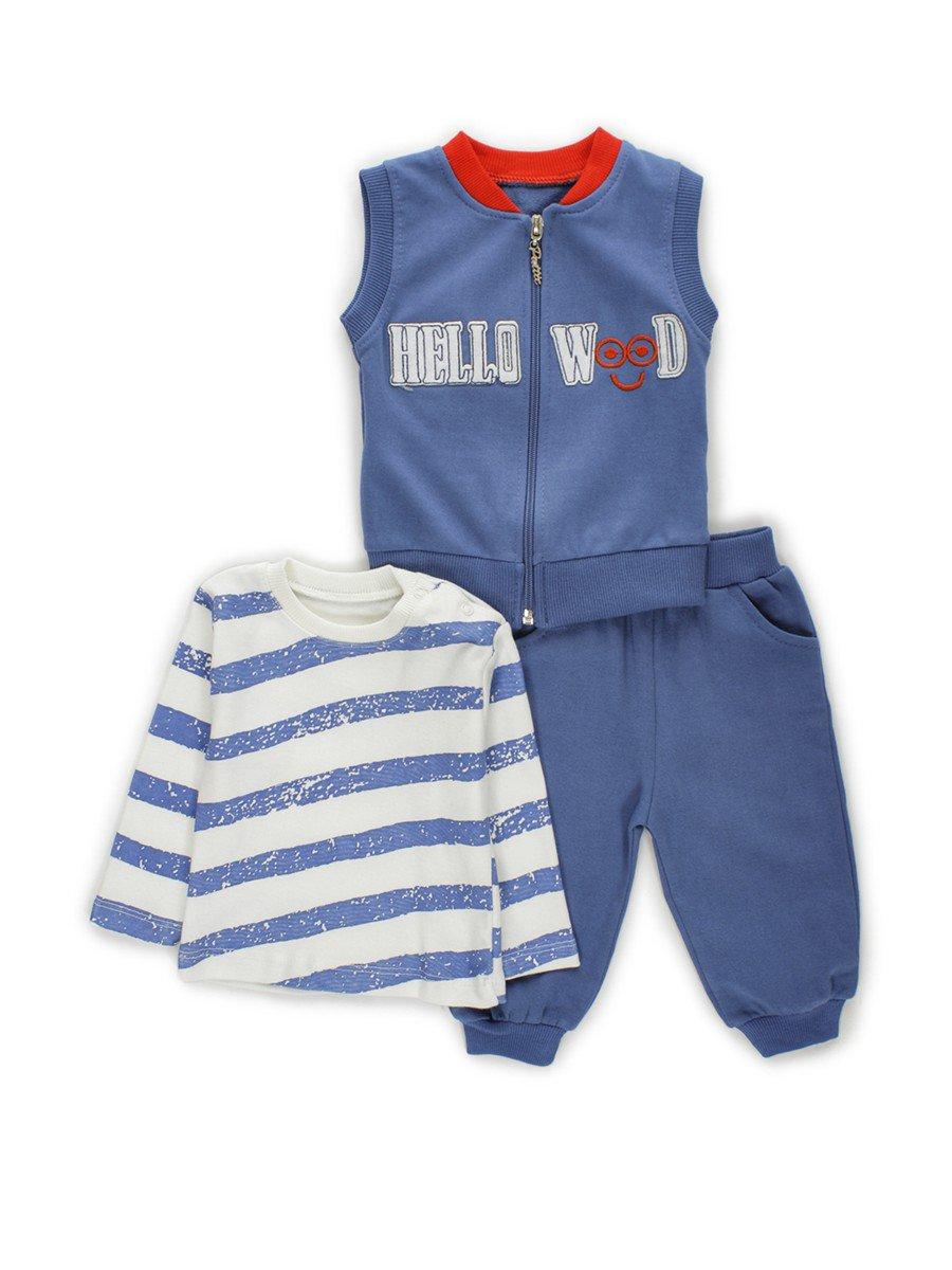 Комплект для мальчика: кофточка, штанишки и жилет, цвет: деним