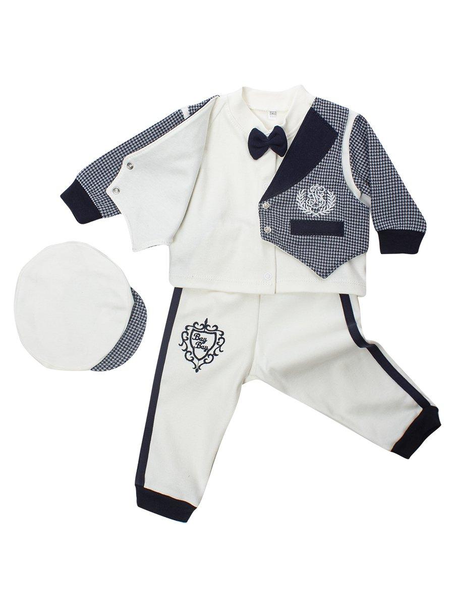 Комплект для мальчика: кофточка, штанишки и шапочка, цвет: молочный