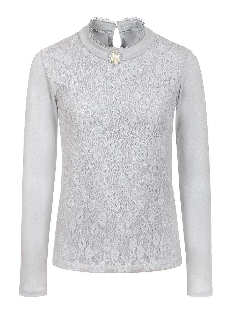 Блузка для девочки, отделка-гипюр, цвет: серый
