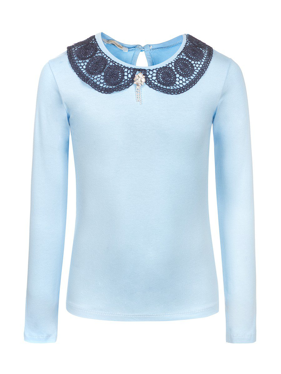 Блузка для девочки, отделка-гипюр, цвет: голубой