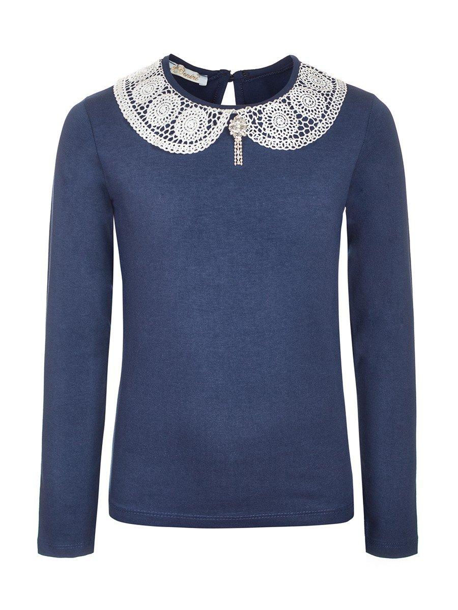 Блузка для девочки, отделка-гипюр, цвет: темно-синий