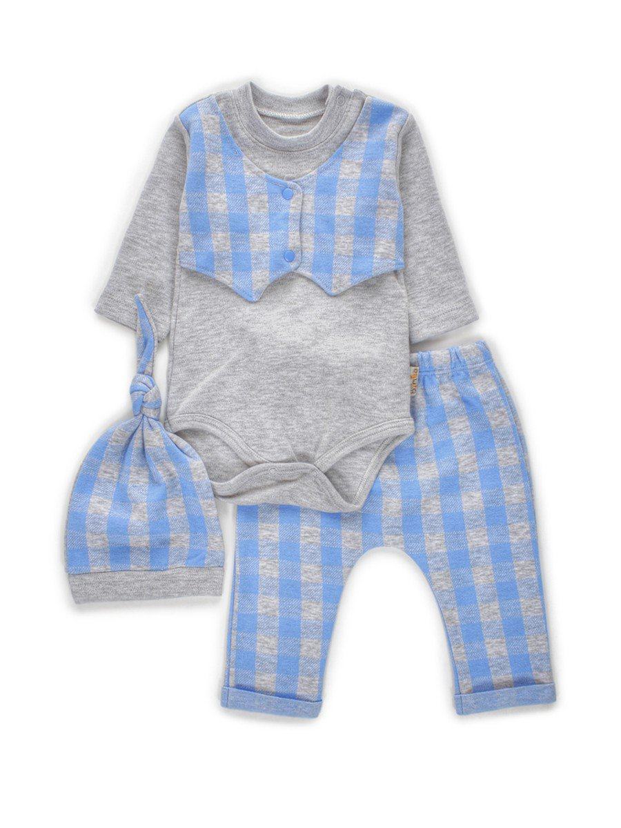 Комплект для мальчика: боди, штанишки и шапочка, цвет: голубой