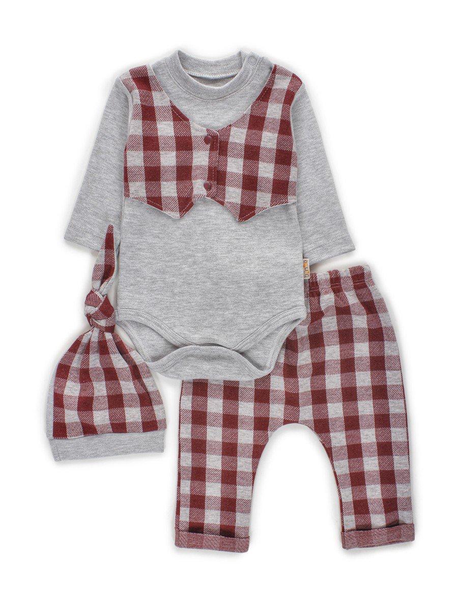 Комплект для мальчика: боди, штанишки и шапочка, цвет: лиловый