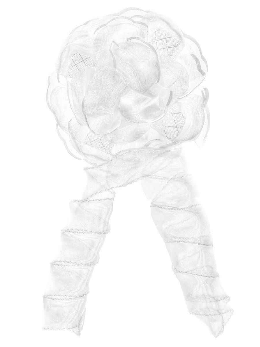 Бант-резинка с локоном 13см, цвет: белый