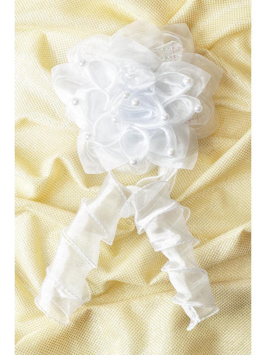 Бант-резинка с локоном 12см, цвет: белый