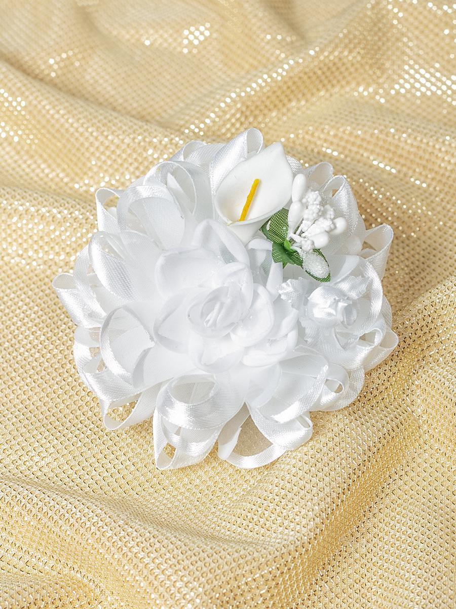 Бант-резинка 12см, цвет: белый