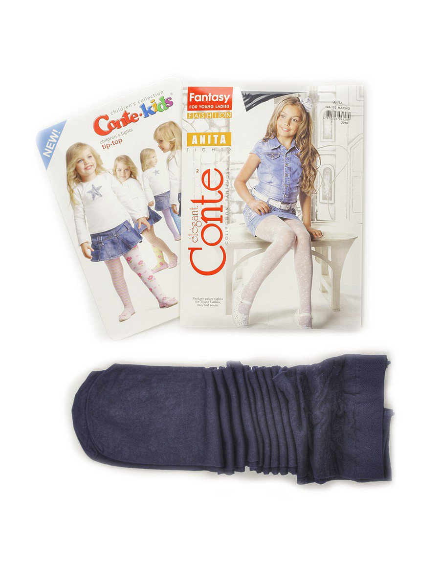 Колготки для девочки полиамидные ANITA серия Fashion (тонкие) 20 DEN, цвет: темно-синий