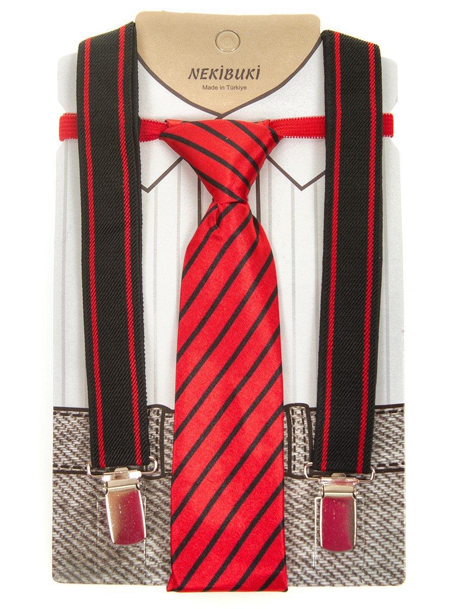 Набор подтяжки и галстук: длина галстука 26 см,подтяжки по спинке 45 см max, цвет: красный