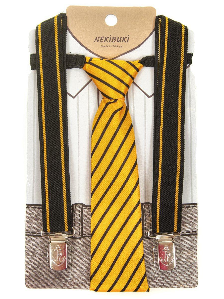 Набор подтяжки и галстук: длина галстука 26 см,подтяжки по спинке 45 см max, цвет: желтый