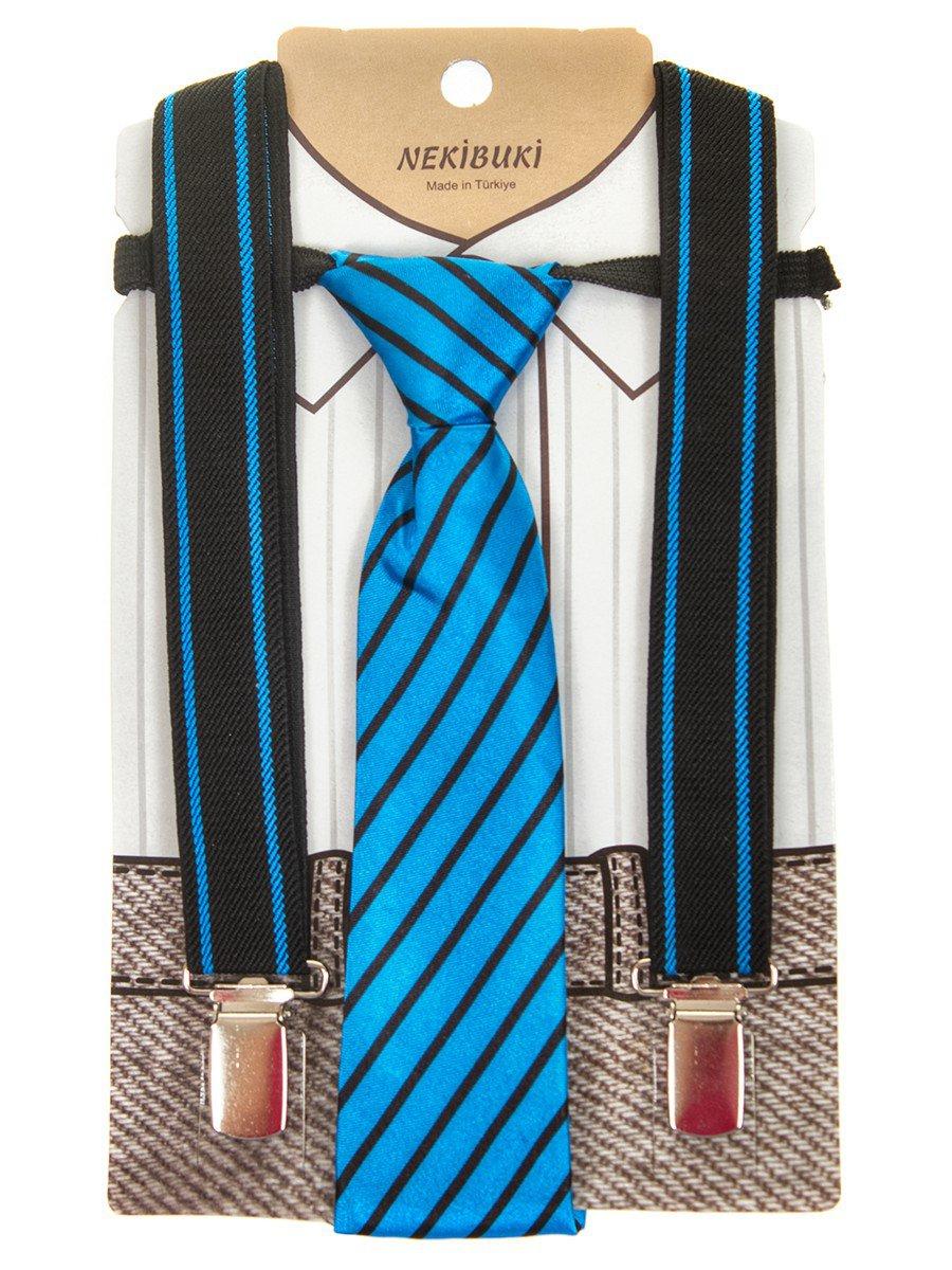 Набор подтяжки и галстук: длина галстука 26 см,подтяжки по спинке 45 см max, цвет: синий