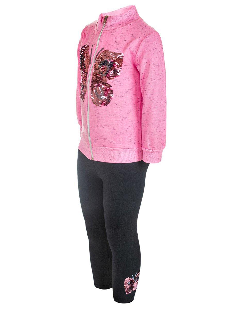 Комплект для девочки:толстовка и лосины, цвет: розовый