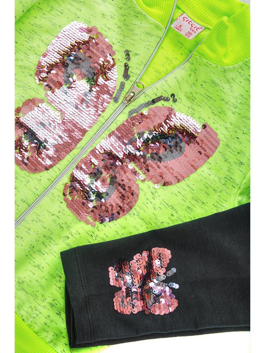 Комплект для девочки:толстовка и лосины, цвет: неон зеленый
