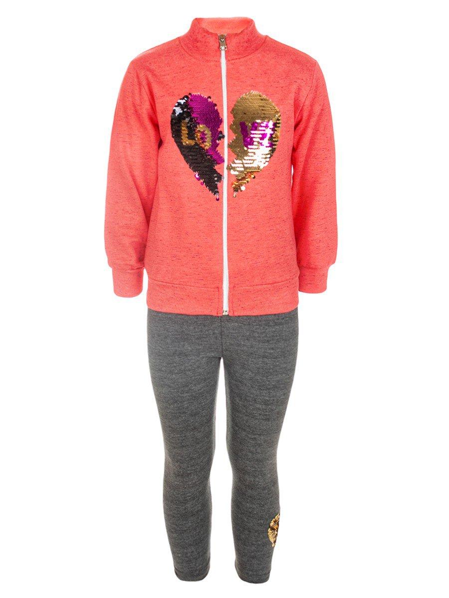 Комплект для девочки:толстовка и лосины, цвет: коралловый