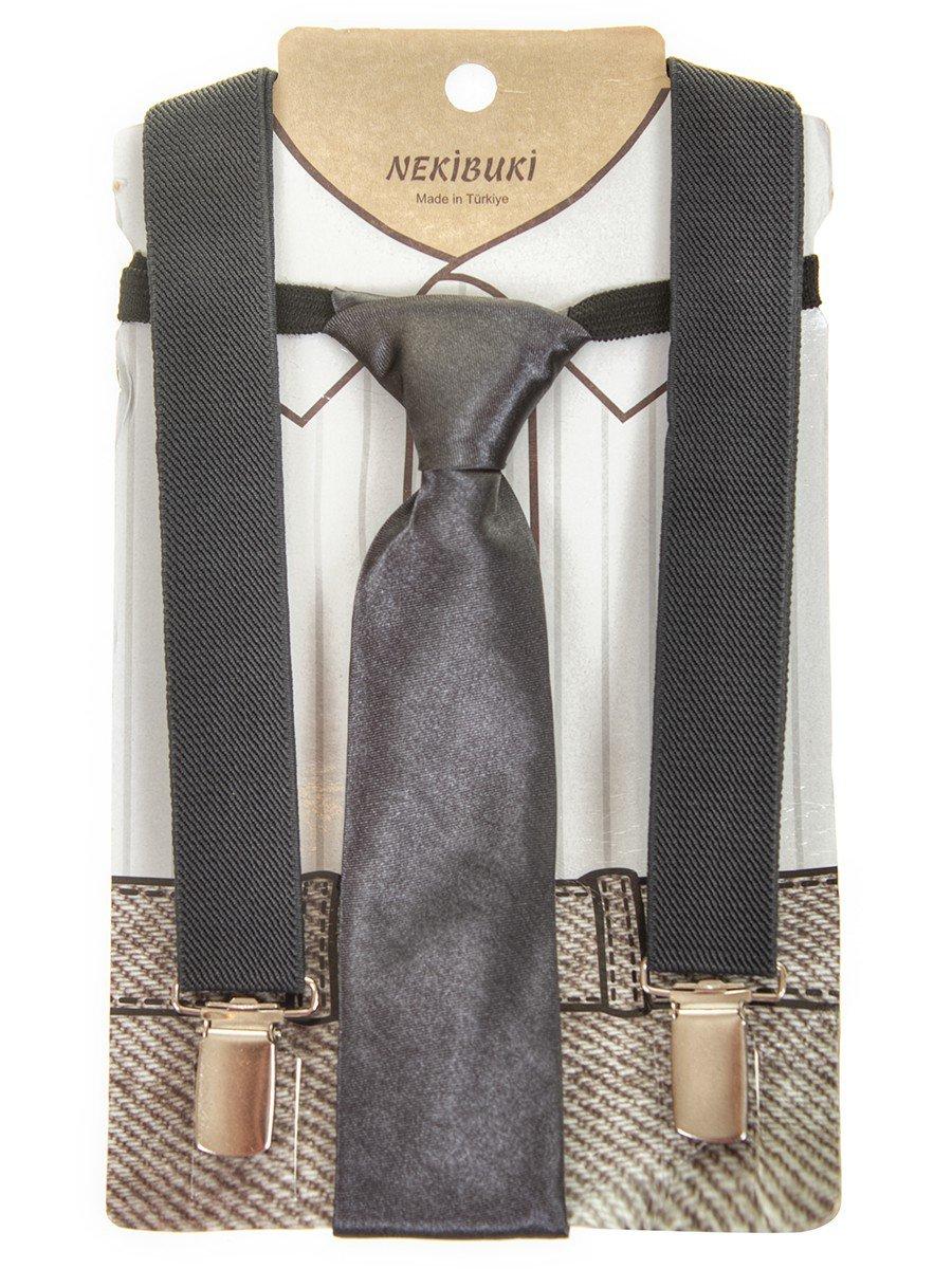 Набор подтяжки и галстук: длина галстука 26 см,подтяжки по спинке 45 см max, цвет: серый
