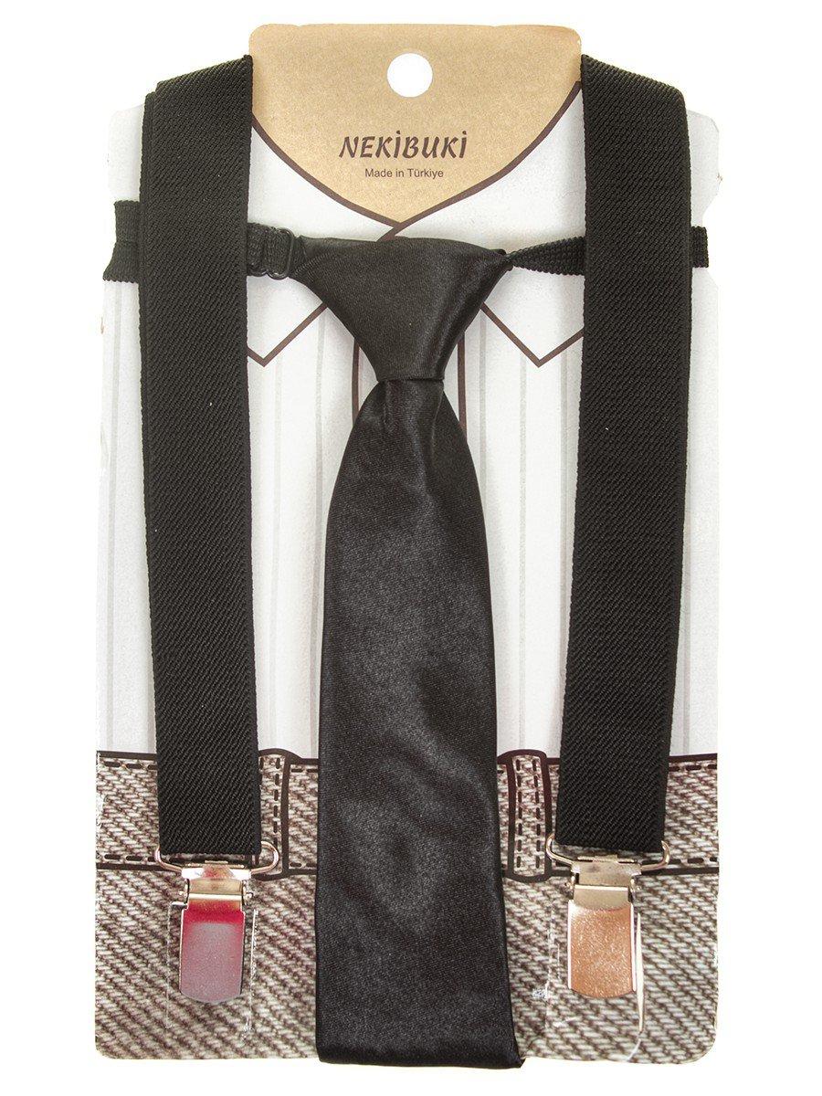 Набор подтяжки и галстук: длина галстука 26 см,подтяжки по спинке 45 см max, цвет: черный