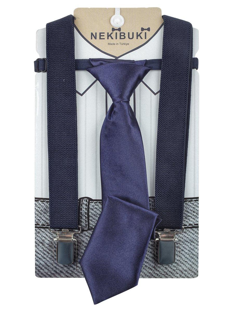 Набор подтяжки и галстук: длина галстука 26 см,подтяжки по спинке 45 см max, цвет: темно-синий
