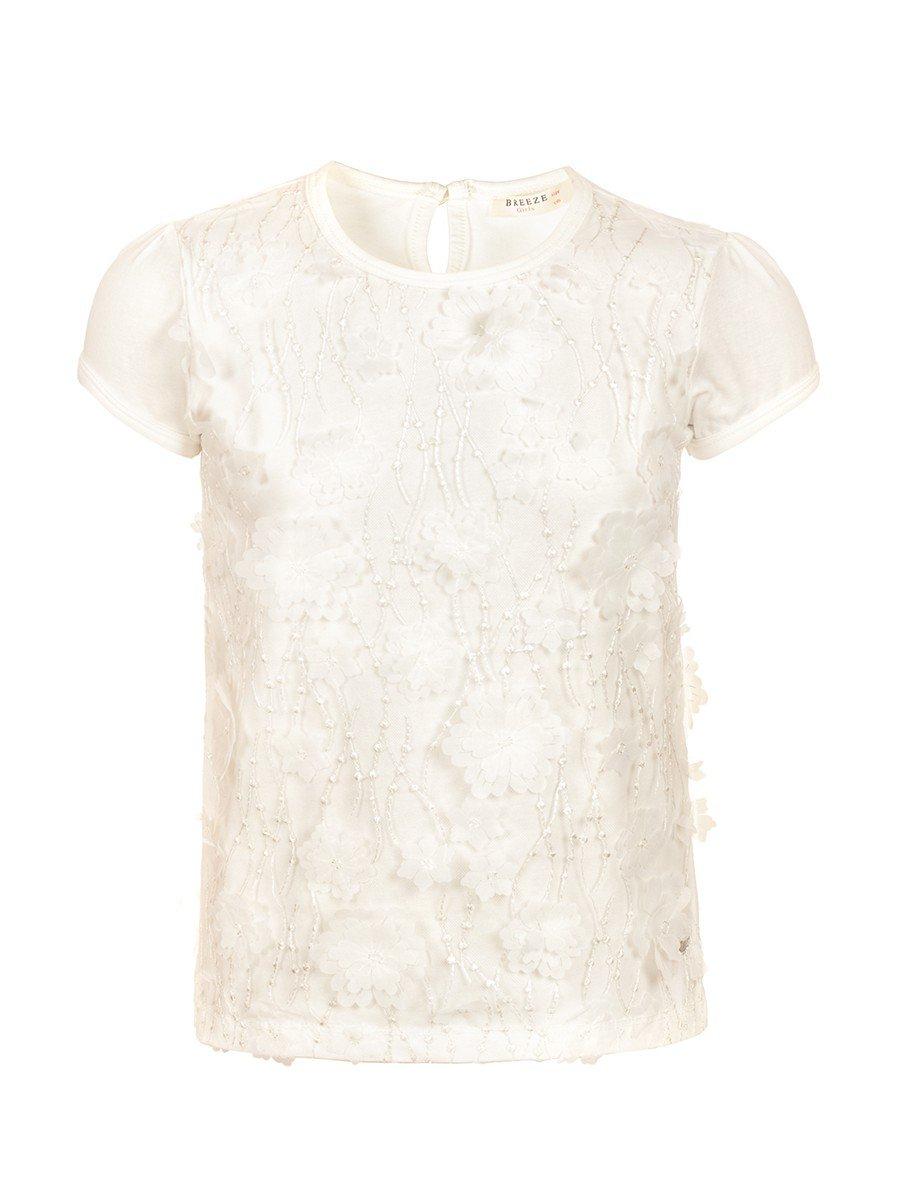 Блузка для девочки отделка сетка с аппликацией, цвет: молочный