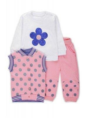 Комплект для девочки: кофточка, жилет и штанишки, отделка пайетками