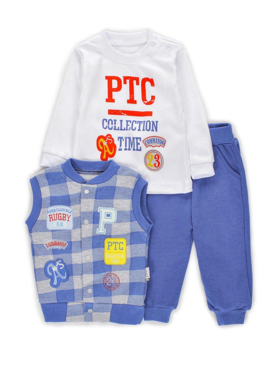 Комплект для мальчика:кофточка, штанишки и жилет, цвет: деним