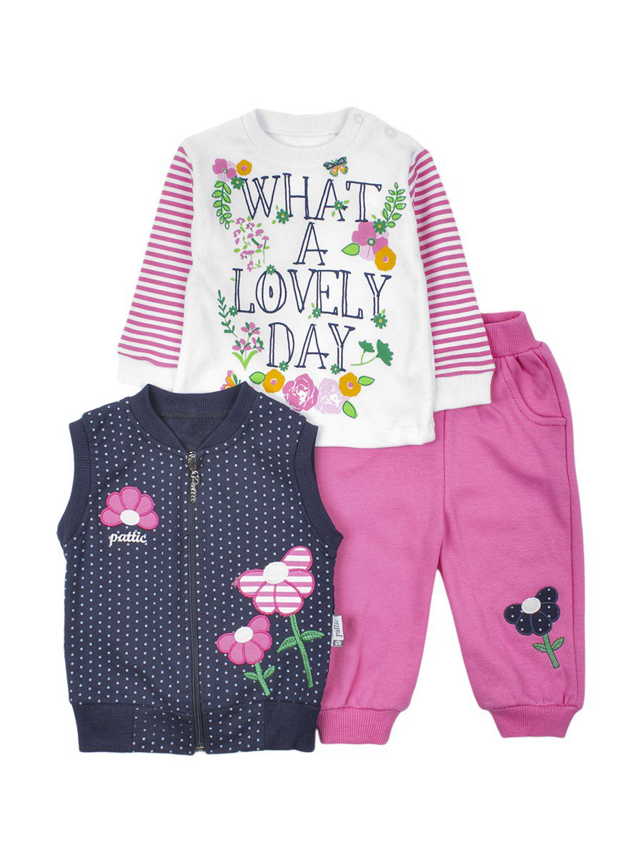 Комплект для девочки: кофточка,штанишки и жилет