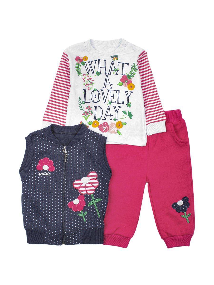 Комплект для девочки: кофточка,штанишки и жилет, цвет: красный