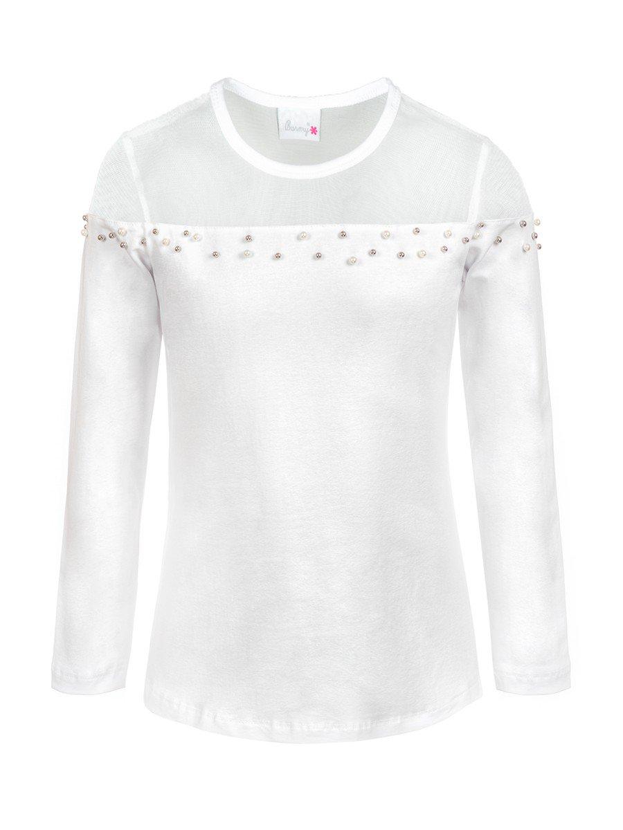 Блузка для девочки отделка сетка и бусины, цвет: белый