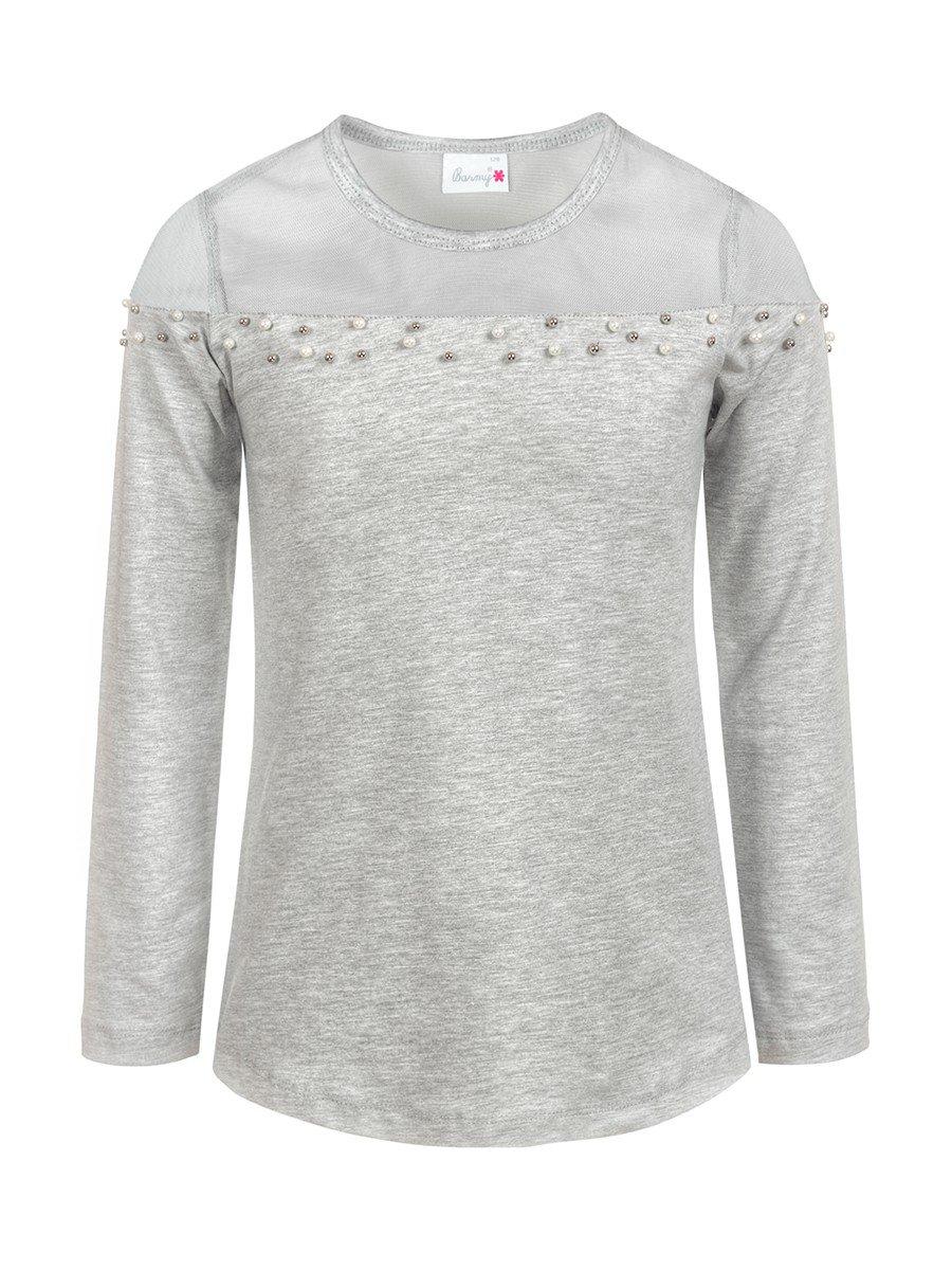 Блузка для девочки отделка сетка и бусины, цвет: серый меланж