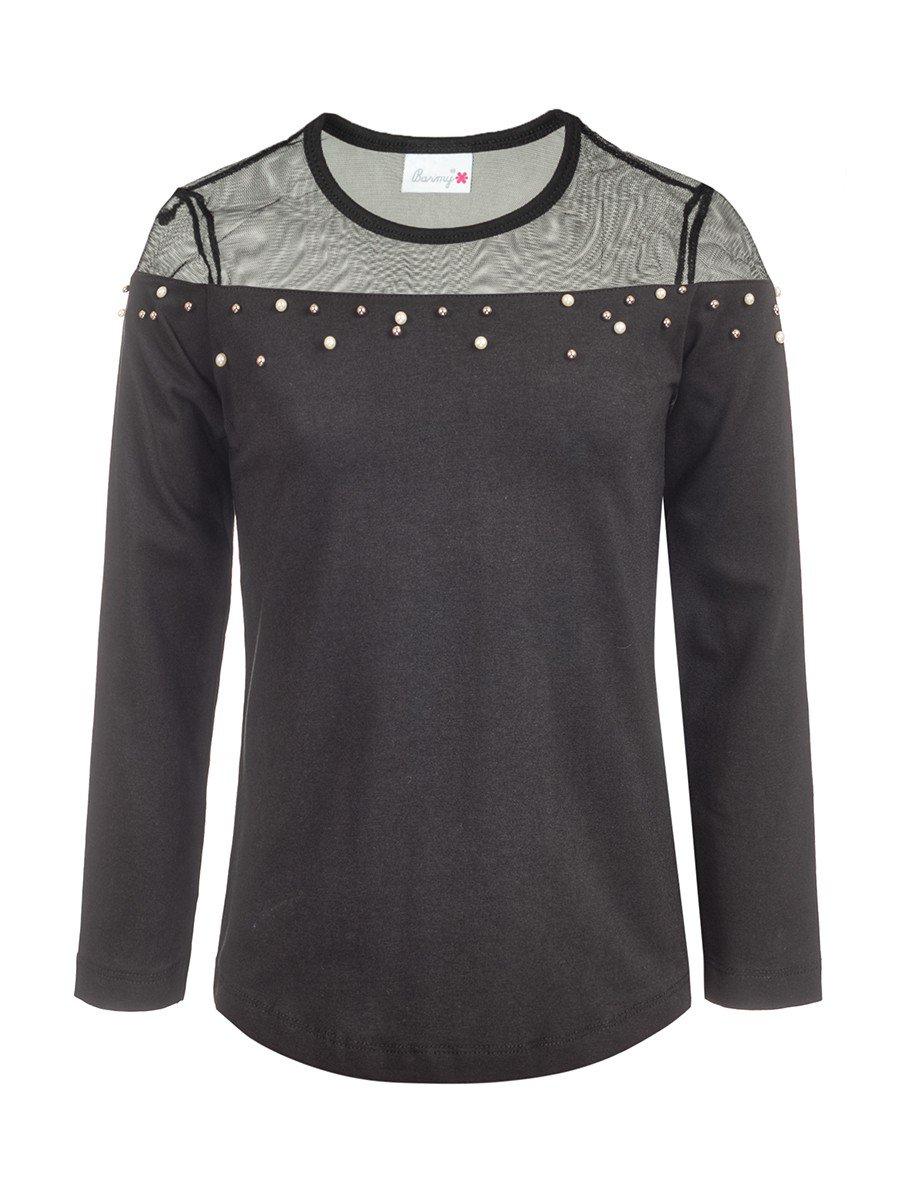 Блузка для девочки отделка сетка и бусины, цвет: черный