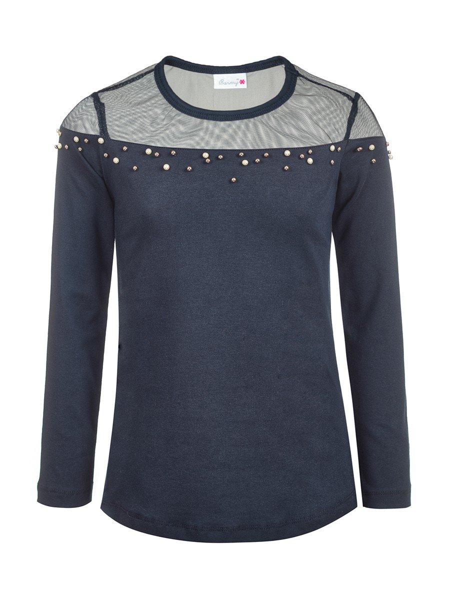 Блузка для девочки отделка сетка и бусины, цвет: темно-синий