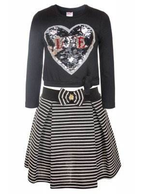Комплект для девочки: кофточка и юбка декорировано двусторонними пайетками